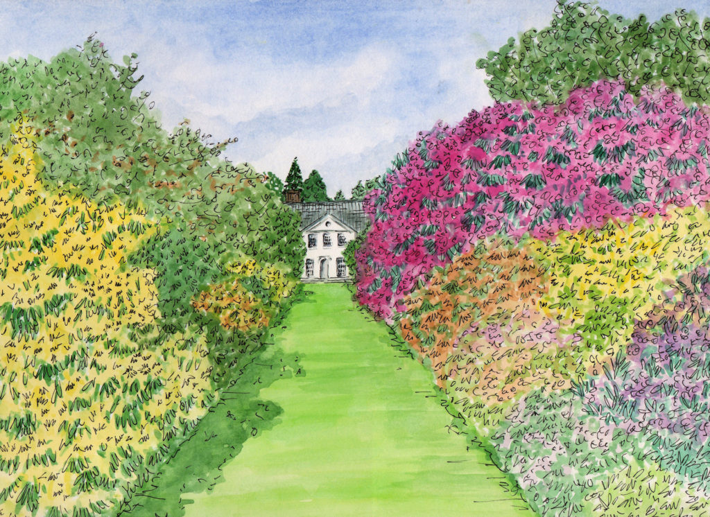 A watercolour of Stody Hall on the Stody Estate in Norfolk